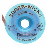 Chemtronics Soder-Wick #80 Brown Rosin Flux Core Desoldering Braid - 10 ft Length - 0.145 in Diameter - Rosin Flux Core - 80-5-10