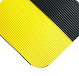 Wearwell 702 Black (Yellow Borders) Vinyl Ribbed Non-Conductive Switchboard Matting - 3 ft Width - 75 ft Length - 715411-00062