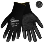 Global Glove Gripster Ultra-Lite 550B Black 9 Nylon Work Gloves - Nitrile Palm Only Coating - Rough Finish - 550B/9