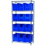 Akro-Mils Stak-N-Store 2000 lb Adjustable Blue Chrome Steel Open Adjustable Fixed Shelving System - 12 Bins - 2000 lb Total Capacity - AWS183613014 BLUE
