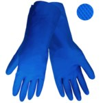 Global Glove 130 Blue Large Latex Work Gloves - 12 in Length - Rough Finish - 130/LG