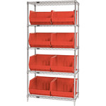 Red Shelves With Bins - 36 in x 18 in x 74 in - SHP-3178