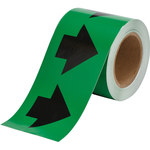 Brady 91408 Black on Green Directional Flow Arrow Tape - 4 in Width - 30 yd Length - B-946