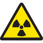 Brady 60185 Black on Yellow Triangle Vinyl Radiation Hazard Label - 1/2 in Width - 1/2 in Height - B-946