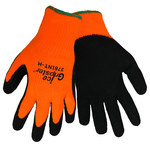Global Glove Ice Gripster 378INT Black/Orange Large Acrylic/Terry Cloth Cold Condition Gloves - Latex Foam Palm & Fingers Coating - 378INT/LG
