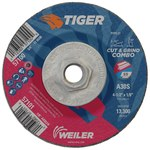 Weiler TIGER Standard (Type 27) Aluminum Oxide Cut & Grind Wheel - 30 Grit - 4 1/2 in Diameter - 1/8 in Thick - 57100