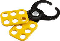 Brady Black/Yellow Epoxy-Coated Steel Lockout/Tagout Hasp 49252 - 2.3 in Width - 5.09 in Height - 1 in Jaw Diameter - 6 Padlock Capacity - 754476-49252