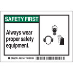 Brady 86194 Black / Green on White Polyester Equipment Safety Label - 5 in Width - 3 1/2 in Height - B-302