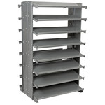 Akro-Mils 800 lbs Blue Gray Steel 16 ga Double Sided Fixed Rack - 36 3/4 in Overall Length - 60 1/4 in Height - 48 - Bins Included - APRD010