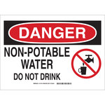 Brady B-555 Aluminum Rectangle White Water Sanitation Sign - 10 in Width x 7 in Height - 131739
