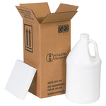 Shipping Supply Kraft 1 Gallon Plastic Jug Shipper Kit - 6 in x 6 in x 12.75 in - SHP-2252