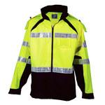 ML Kishigo Premium Brilliant Series Lime Large/XL Rain Jacket - 4 Pockets - Detachable Hood - MLK RWJ112 LG/XL