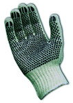 PIP 36-110PD Black/White X-Small Cotton/Polyester General Purpose Gloves - PVC Dotted Palm & Fingers Coating - 8.5 in Length - 36-110PD/XS