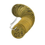 Brady 23257 Black on Brass Circle Brass Numbered Valve Tag with Header Numbered Valve Tag with Header - 1 1/2 in Dia. Width - Print Number(s) = 26 to 50 - B-907