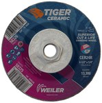 Weiler Tiger Ceramic Grinding Wheel - 24 Grit - 4 1/2 in Diameter - 5/8 in - 11 Hub Center Hole - 1/4 in Thick - 58326