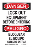 Brady B-555 Aluminum Rectangle White Lockout Sign - 7 in Width x 10 in Height - Language English / Spanish - 124097