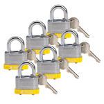 Brady Yellow Steel 5-pin Keyed & Safety Padlock 118938 - 1 5/16 in Width - 1 1/5 in Height - 17/64 in Shackle Diameter - 1 Key(s) Included - 754473-66175