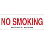 Brady B-302 Polyester Rectangle Red No Smoking Sign - 10 in Width x 3.5 in Height - 98228
