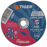 Weiler TIGER Aluminum Oxide Cutting Wheel - Type 1 - Straight Wheel - 60 Grit - 3 in Diameter - 5/8 in Center Hole -.035 in Thick - 57001