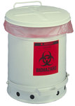Justrite White Steel 6 gal Safety Can - 15 7/8 in Height - 11 7/8 in Overall Diameter - 697841-00020