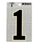 Brady 3010-1 Black on Silver Number Label - Indoor / Outdoor - 2 1/2 in Width - 3 1/2 in Height - 3 in Character Height - B-309