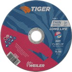 Weiler TIGER Aluminum Oxide Cutting Wheel - Type 1 - Straight Wheel - 60 Grit - 6 in Diameter - 7/8 in Center Hole -.045 in Thick - 57022