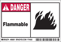 Brady 86801 Black / Red on White Rectangle Polyester Fire Hazard Label - 5 in Width - 3 1/2 in Height - B-302