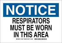 Brady B-555 Aluminum Rectangle White Respirator Sign - 10 in Width x 7 in Height - 123569