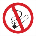 Brady B-120 Fiberglass Reinforced Polyester Square White No Smoking Sign - 7 in Width x 7 in Height - 69792