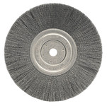Weiler Steel Wheel Brush 0.008 in Bristle Diameter - Arbor Attachment - 8 in Outside Diameter - 5/8 in Center Hole Size - 01145
