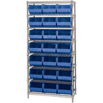Blue Shelves With Bins - 36 in x 18 in x 74 in - SHP-3164
