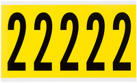 Brady 34 Series 3460-2 Black on Yellow Vinyl Cloth Number Label - Indoor - 1 3/4 in Width - 5 in Height - 3 7/8 in Character Height - B-498