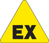Brady 60189 Black on Yellow Triangle Vinyl Fire Hazard Label - 1/2 in Width - 1/2 in Height - B-946