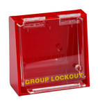 Brady Prinzing Yellow on Red Acrylic Group Lockout Box 45578 - 12 in Width - 7.5 in Height - 10 Padlock Capacity - 754476-45578