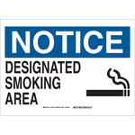 Brady B-302 Polyester Rectangle Smoking Area Sign - 10 in Width x 7 in Height - Laminated - 132009