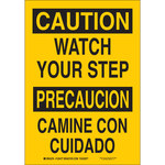 Brady B-555 Aluminum Rectangle Yellow Fall Prevention Sign - 7 in Width x 10 in Height - Language English / Spanish - 125475