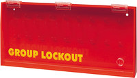 Brady Prinzing Yellow on Red Acrylic Group Lockout Box 50088 - 15.75 in Width - 7.5 in Height - 14 Padlock Capacity - 754476-50088