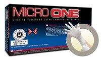 Microflex Micro One MO-150 White Large Powdered Disposable Gloves - Industrial Grade - 9.6 in Length - Smooth Finish - 5.5 mil Thick - MO-150-L