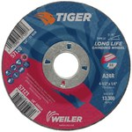 Weiler TIGER Standard (Type 27) Aluminum Oxide Grinding Wheel - 24 Grit - 4 1/2 in Diameter - 7/8 in Center Hole - 1/4 in Thick - 57121