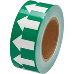 Brady 106171 White on Green Directional Flow Arrow Tape - 2 in Width - 30 yd Length - B-302