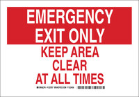 Brady B-555 Aluminum Rectangle Red Emergency Exit Sign - 10 in Width x 7 in Height - 123785