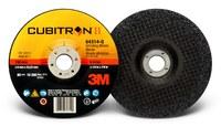 3M Cubitron II Type-Q Ceramic Aluminum Oxide Depressed Center Grinding Wheel - 6 in Dia 7/8 in Center Hole - Thickness 1/4 in - 10,200 Max RPM - 64314