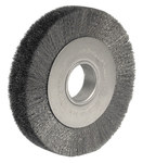 Weiler Steel Wheel Brush 0.02 in Bristle Diameter - Arbor Attachment - 8 in Outside Diameter - 2 in Center Hole Size - 03160