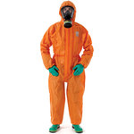 Ansell Microchem 5000 Orange Large Disposable Chemical-Resistant Coverall - 076490-18117