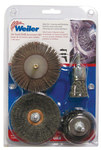 Weiler Abrasive Brush Set - Medium Grade(s) Included - Threaded Arbor Attachment - 1/4 in Center Hole - 0.0118, 0.02 in Bristle Diameter - 13002