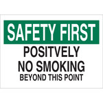 Brady B-555 Aluminum Rectangle White No Smoking Sign - 14 in Width x 10 in Height - 42674