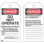 Brady 65444 Black / Red on White Cardstock Lockout / Tagout Tag - 3 in Width - 5 3/4 in Height - B-853