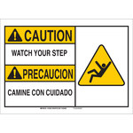 Brady B-555 Aluminum Rectangle White Fall Prevention Sign - 10 in Width x 7 in Height - Language English / Spanish - 125331