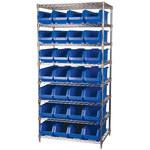 Akro-Mils Akrobin 2000 lb Adjustable Blue Chrome Steel Open Adjustable Fixed Shelving System - 28 Bins - 2000 lb Total Capacity - AWS24360284 BLUE