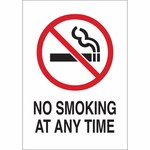 Brady B-401 Polystyrene Rectangle White No Smoking Sign - 7 in Width x 10 in Height - 141943